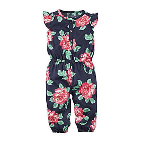 Carter's Navy Floral Jumpsuit  Baby Girls Newborn-24m