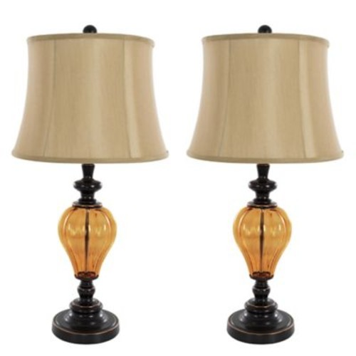 Nottingham Home Glass Table Lamp in Rubbed Bronze (Set of 2)