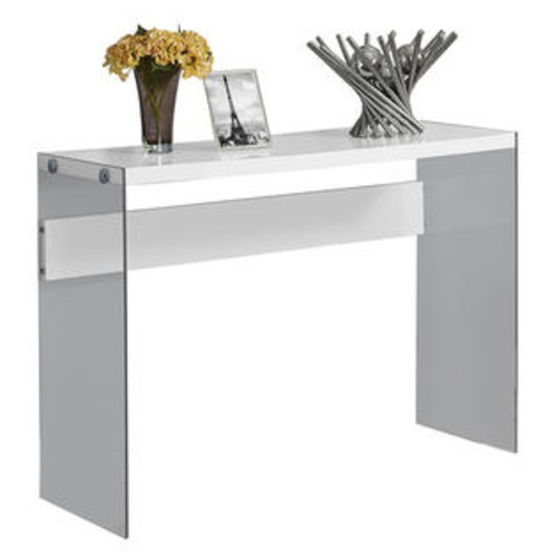 Monarch Specialties Console Table - Glossy White With Tempered Glass per EA