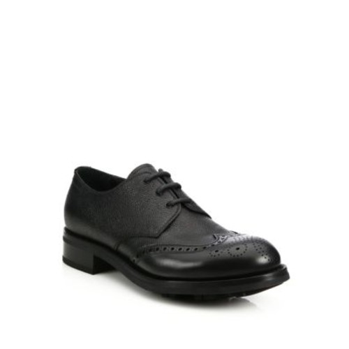 Pebbled Leather Brogue Oxfords