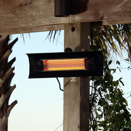 Fire Sense Black Steel Wall Mounted Infrared Patio Heater w/ Glass Front
