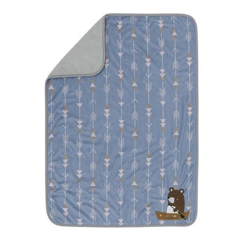 Lambs & Ivy(R) Tippy Canoe Blue/Gray Camping Minky/Sherpa Blanket