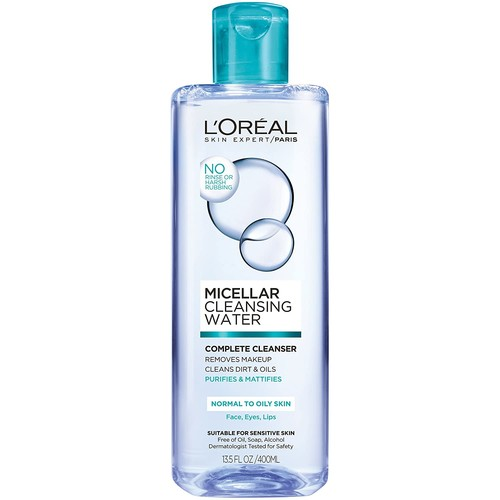 L'Oreal Paris Micellar Cleansing Water Oily Skin Facial Cleanser & Makeup Remover, 13.5 fl. oz. [Normal to Oily Skin]