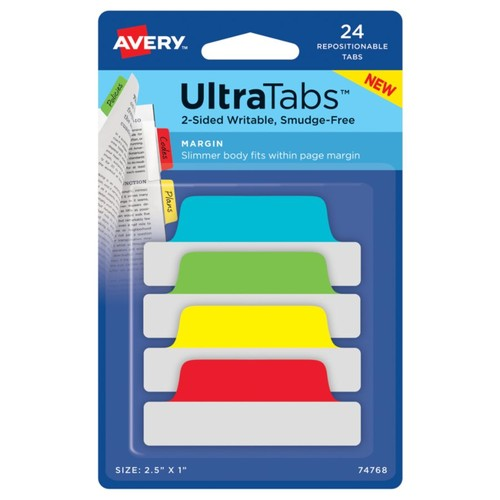 Avery Ultra Tabs Repositionable Tabs, Margin, 2.5