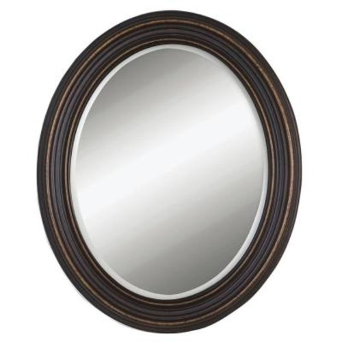 Global Direct 34 in. x 28 in. Rubbed Bronze Wood Oval Framed Mirror