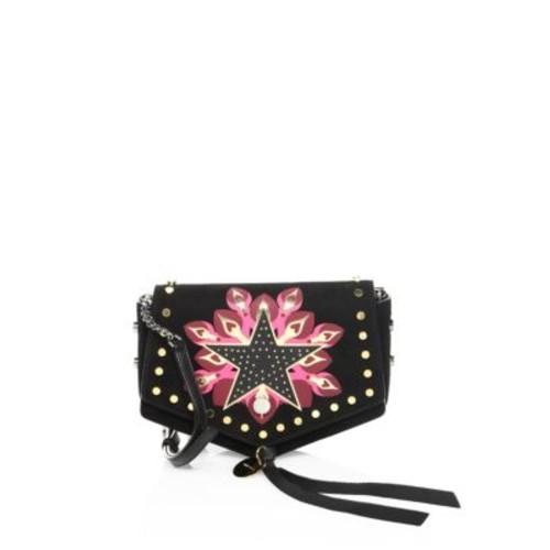 Arrow Galaxy Star-Print Suede Crossbody Bag