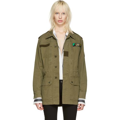 SAINT LAURENT Green 'Love' Military Jacket