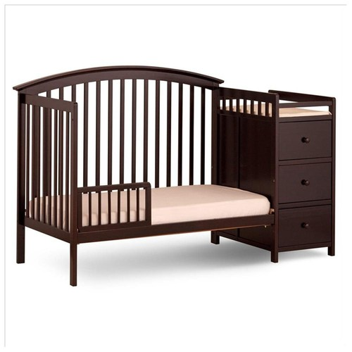 Bradford Fixed Side Convertible Crib and Changer, Espresso
