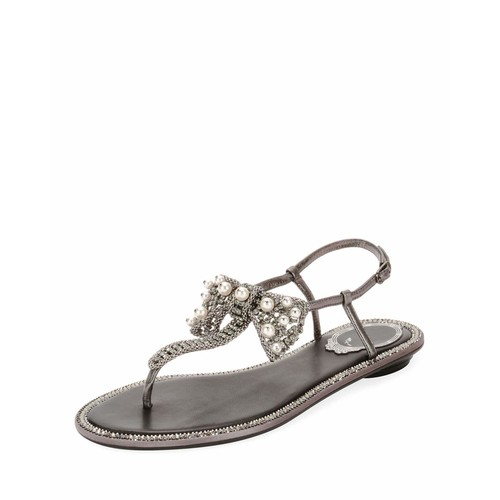 Leather Sandal with Embellished Bow