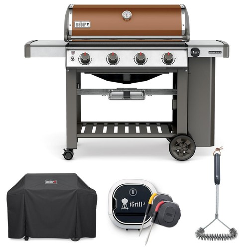 Weber Genesis II E-410 Liquid Propane Grill Combo with Grill Brush, Cover, and iGrill 3 Thermometer