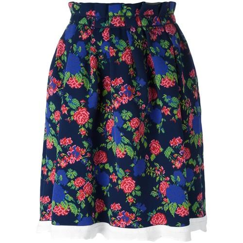 MSGM Floral Print Full Skirt