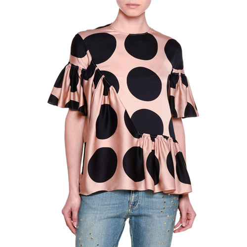 STELLA MCCARTNEY Short-Sleeve Ruffled Polka Dot Silk Top, Peach/Navy