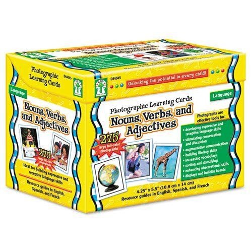 Carson Dellosa Photographic Learning Cards Boxed Set, Nouns/Verbs/Adjectives, Grades K-12 (CDPD44045)