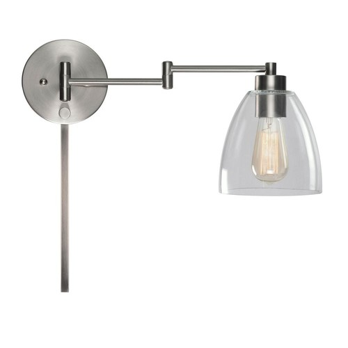 Kenroy Home Edis 1-Light Brushed Steel Wall Swing Arm Light