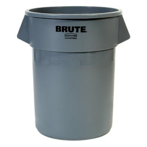Rubbermaid Commercial BRUTE Heavy-Duty Round Waste/Utility Container with Venting Channels, 10-gallon, Gray (FG261000GRAY)