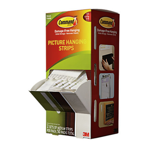 Command Picture Hanging Strips, White, Pack Of 50