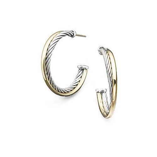 Crossover Medium Hoop Earrings with G