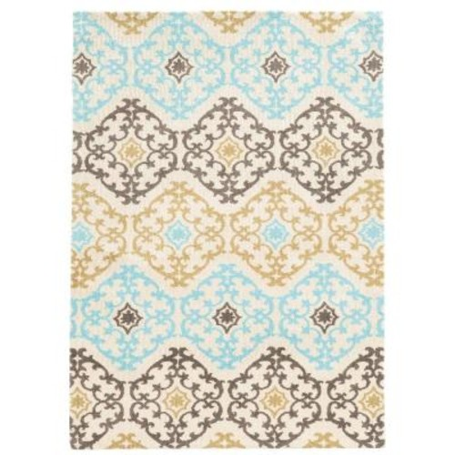 Linon Home Decor Geo Collection Grey/Aqua 5 ft. x 7 ft. Indoor Area Rug