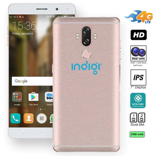 Indigi NEW 4G LTE 6-inch Android 7 SmartPhone (OctaCore @ 1.3GHz + DualSIM + FingerPrint Scanner + 13MP Camera + GSM Unlocked)