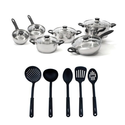 BergHOFF Ostend Stainless Steel Cookware and Black Nylon Cooking Tools 17-piece Set