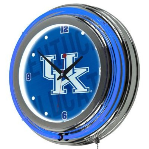 Trademark Global University of Kentucky 14 in. x 14 in. Wordmark Round Neon Wall Clock