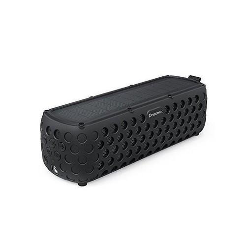 Solar Bluetooth Speaker, Dreamix 30+ Hours Playtime Portable Wireless Stereo Bass IP65 Splashproof Outdoor Bluetooth 4.0 Speaker for Beach, Poolside, Shower, Bike, Camping - Black