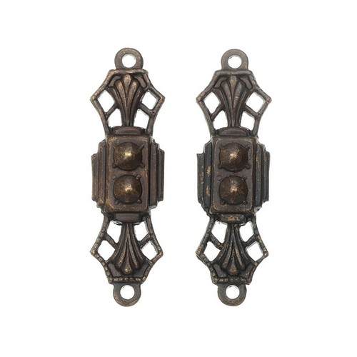 Vintaj Natural Brass, Art Deco Treasured Filigree Connector 24x7mm, 2 Pieces