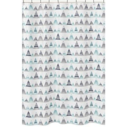 Sweet Jojo Designs Mountains Shower Curtain in Grey/Aqua