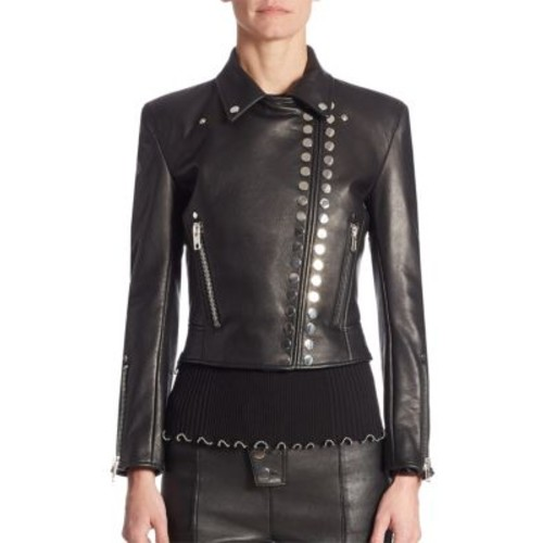 ALEXANDER WANG Cropped Leather Moto Jacket