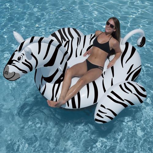 Swimline Giant 97-in Inflatable Zebra Ride-on Pool Toy