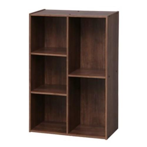 IRIS 5 Compartment Wood Organizer Bookcase Storage Shelf, Brown