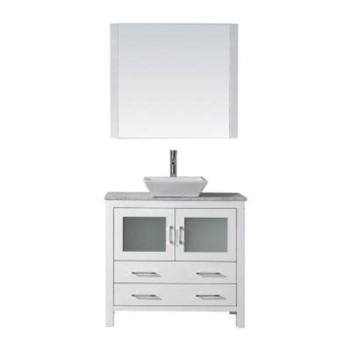 Virtu USA Dior 32 in. W x 18.3 in. D Vanity in White with Marble Vanity Top in Carrara White with White Basin and Mirror