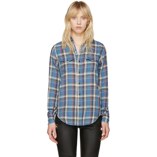 SAINT LAURENT Blue Classic Western Plaid Shirt