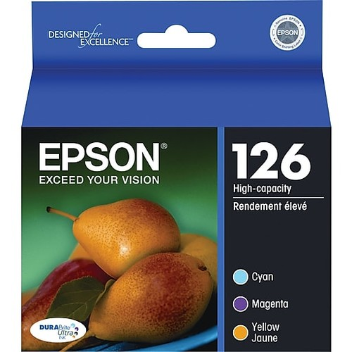 Epson 126 DuraBrite Ultra Tricolor Ink Cartridges (T126520), Pack Of 3