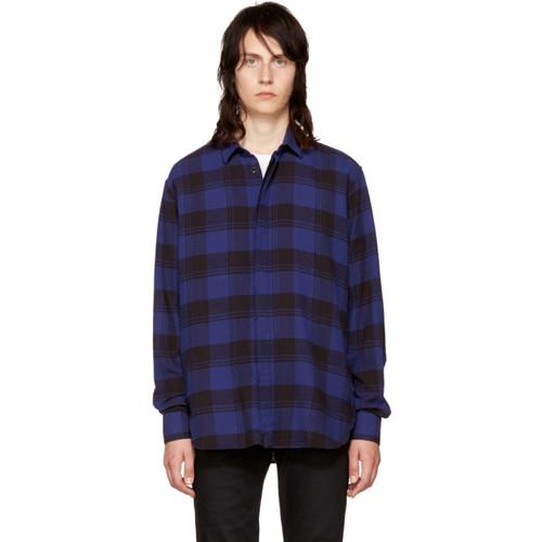 SAINT LAURENT Blue Flannel Check Shirt