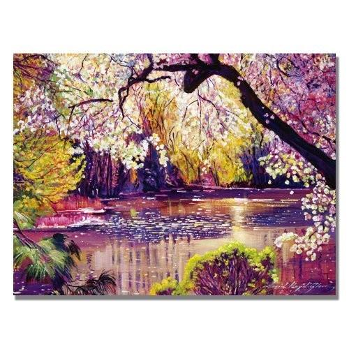 Trademark Fine Art Central Park Spring Pond by David Lloyd Glover Canvas Wall Art, 24x32-Inch [24 by 32-Inch]