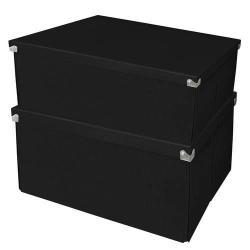 Samsill Mega Box with Lid Black (2-Pack)