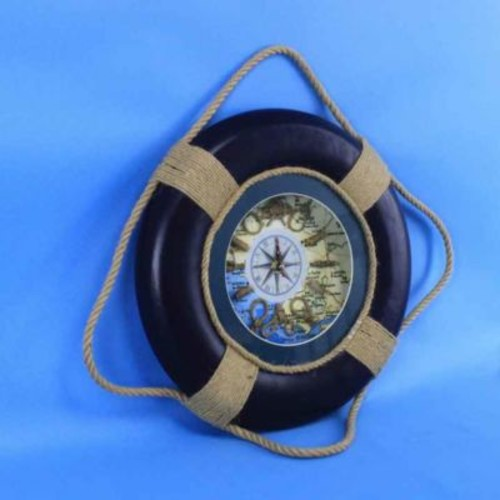 Handcrafted Nautical Decor Vintage Decorative Life Ring 15'' Clock; Blue