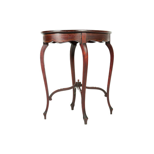 Antique Mahogany Inlay-Top Side Table