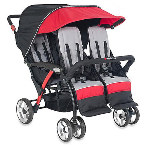 Foundations Quad Sport Splash of Color 4-Passenger Stroller in Red