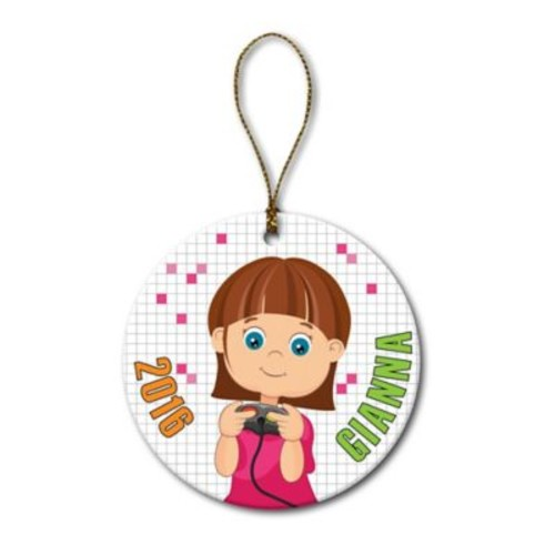 Girl Video Gamer Ceramic Ornament
