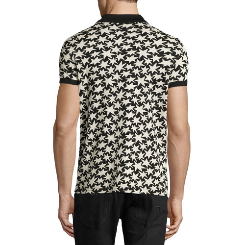 SAINT LAURENT Allover Star-Print Polo Shirt, Black/White