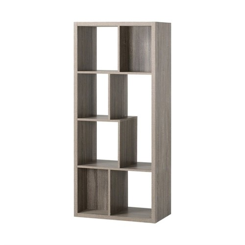 Homestar - Homestar 7 Compartment Shelving Bookcase in Reclaimed Wood - Black
