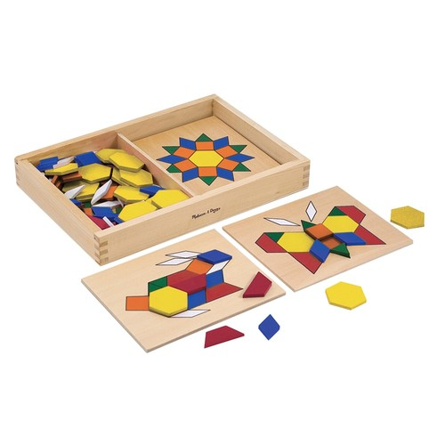 Melissa & Doug Pattern Blocks and Boards - Classic Toy With 120 Solid Wood Shapes and 5 Double-Sided Panels [Standard Version]