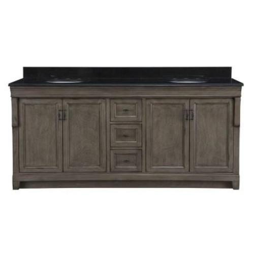 Home Decorators Collection Naples 72 in. W x 22 in. D Double Bath Vanity in Distressed Grey with Granite Vanity Top in Black