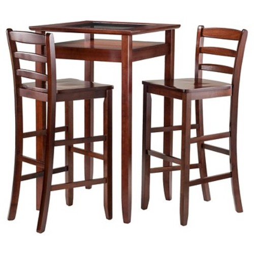 3 Piece Halo Set Pub Table with Ladder Back Bar Stools Wood/Walnut - Winsome