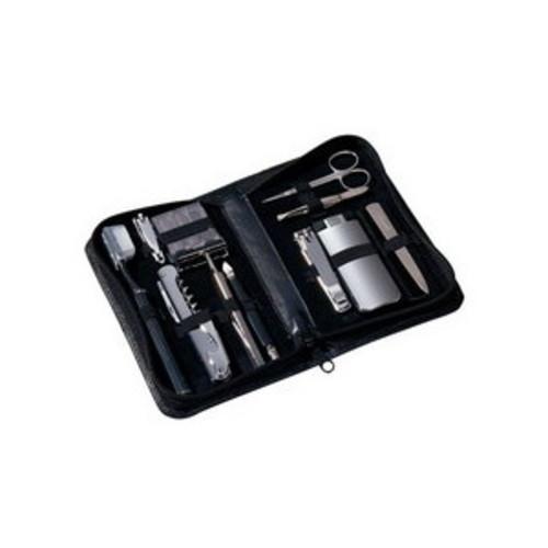 Royce Leather Luxury Travel and Grooming Kit, Black