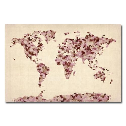 Trademark Global Michael Tompsett 'Vintage Hearts World Map' Canvas Art [Overall Dimensions : 30x47]