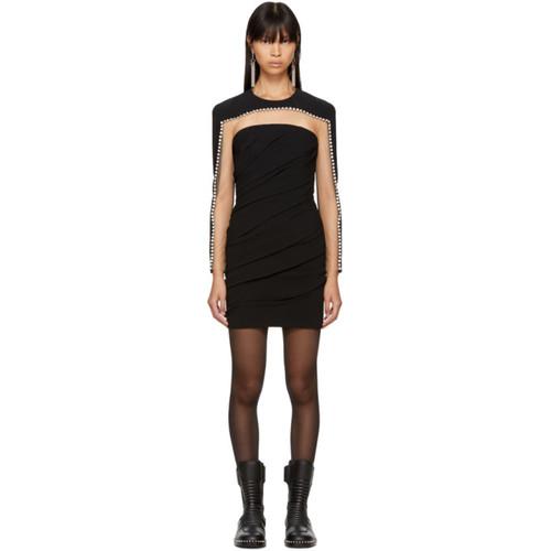 ALEXANDER WANG Black Draped Rhinestone Dress