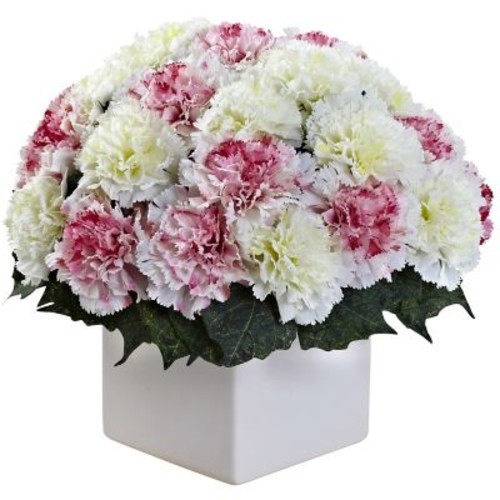 Nearly Natural 1372-MW Carnation Arrangement with Vase, Mauve & White